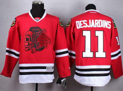 Blackhawks #11 Andrew Desjardins Red(Red Skull) Stitched NHL Jersey
