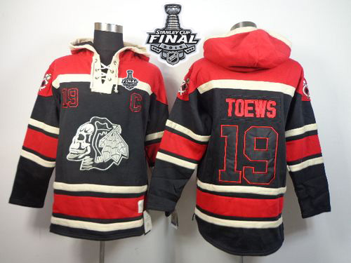 Blackhawks #19 Jonathan Toews Black Sawyer Hooded Sweatshirt 2015 Stanley Cup Stitched NHL Jersey