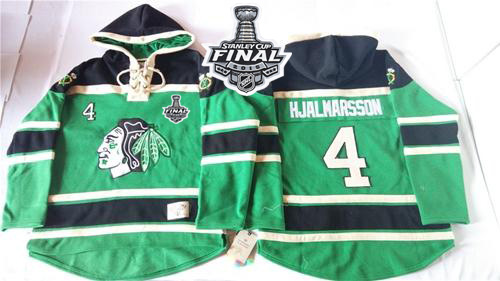 Blackhawks #4 Niklas Hjalmarsson Green St. Patrick's Day McNary Lace Hoodie 2015 Stanley Cup Stitched NHL Jersey