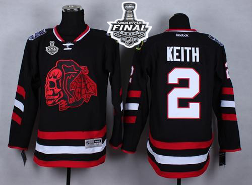 Blackhawks #2 Duncan Keith Black(Red Skull) 2014 Stadium Series 2015 Stanley Cup Stitched NHL Jersey