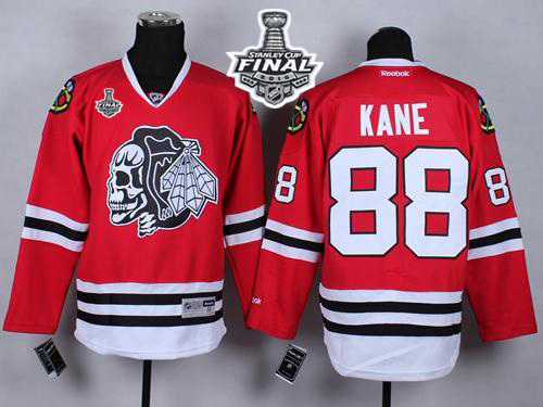 Blackhawks #88 Patrick Kane Red(White Skull) 2015 Stanley Cup Stitched NHL Jersey