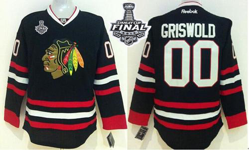 Blackhawks #00 Clark Griswold Black 2015 Stanley Cup Stitched NHL Jersey