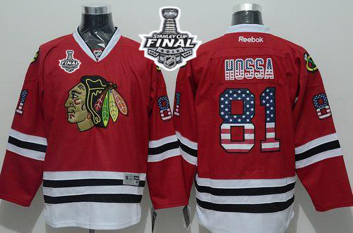 Blackhawks #81 Marian Hossa Red USA Flag Fashion 2015 Stanley Cup Stitched NHL Jersey