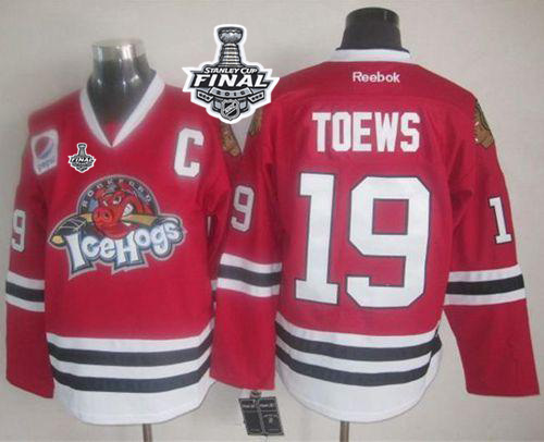 Blackhawks #19 Jonathan Toews Red Ice Hogs 2015 Stanley Cup Stitched NHL Jersey