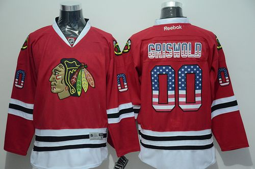 Blackhawks #00 Clark Griswold Red USA Flag Fashion Stitched NHL Jersey