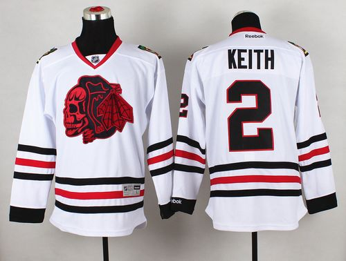 Blackhawks #2 Duncan Keith White(Red Skull) Stitched NHL Jersey