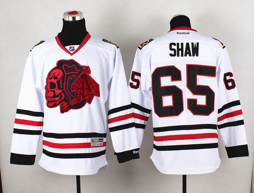 Blackhawks #65 Andrew Shaw White(Red Skull) Stitched NHL Jersey