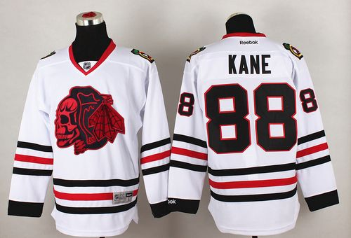 Blackhawks #88 Patrick Kane White(Red Skull) Stitched NHL Jersey