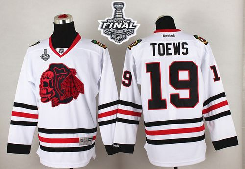 Blackhawks #19 Jonathan Toews White(Red Skull) 2015 Stanley Cup Stitched NHL Jersey
