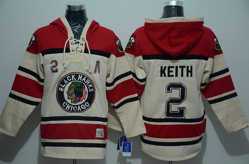Blackhawks #2 Duncan Keith Cream Sawyer Hooded Sweatshirt Stitched NHL Jersey