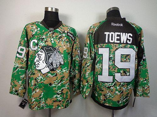 Blackhawks #19 Jonathan Toews Camo Veterans Day Practice Stitched NHL Jersey
