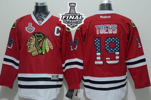 Blackhawks #19 Jonathan Toews Red USA Flag Fashion 2015 Stanley Cup Stitched NHL Jersey