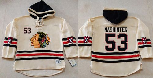 Blackhawks #53 Brandon Mashinter Cream Heavyweight Pullover Hoodie Stitched NHL Jersey
