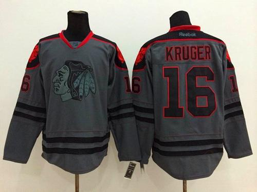 Blackhawks #16 Marcus Kruger Charcoal Cross Check Fashion Stitched NHL Jersey