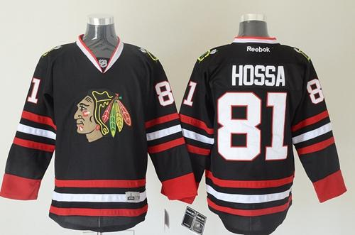 Blackhawks #81 Marian Hossa Black Stitched NHL Jersey