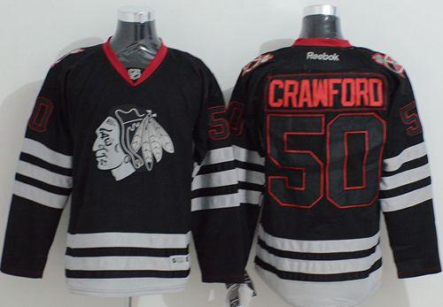 Blackhawks #50 Corey Crawford Black Ice Stitched NHL Jersey