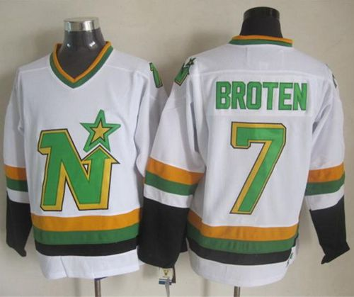 Stars #7 Neal Broten White CCM Throwback Stitched NHL Jersey