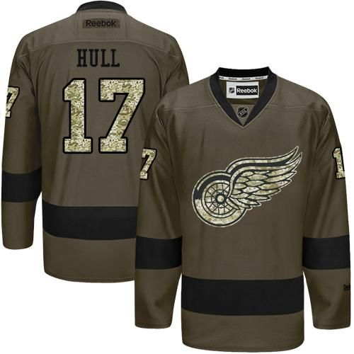 Red Wings #17 Brett Hull Green Salute to Service Stitched NHL Jersey