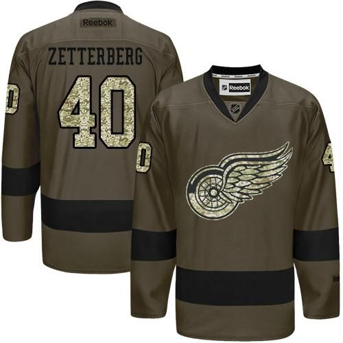 Red Wings #40 Henrik Zetterberg Green Salute to Service Stitched NHL Jersey