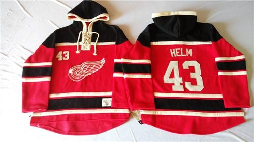 Red Wings #43 Darren Helm Red Sawyer Hooded Sweatshirt Stitched NHL Jersey