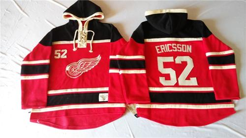 Red Wings #52 Jonathan Ericsson Red Sawyer Hooded Sweatshirt Stitched NHL Jersey