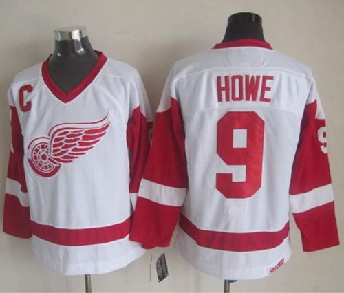 Red Wings #9 Gordie Howe White CCM Throwback Stitched NHL Jersey
