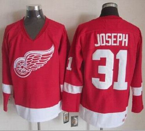 Red Wings #31 Curtis Joseph Red CCM Throwback Stitched NHL Jersey