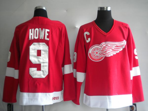 Red Wings #9 Gordie Howe Red CCM Stitched NHL Jersey