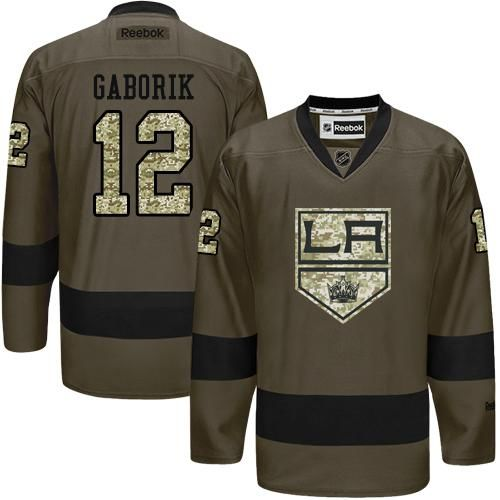 Kings #12 Marian Gaborik Green Salute to Service Stitched NHL Jersey