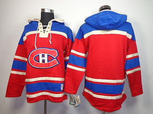 Canadiens Blank Red Sawyer Hooded Sweatshirt Stitched NHL Jersey