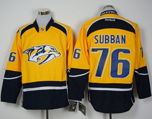 Predators #76 P.K Subban Yellow Home Stitched NHL Jersey