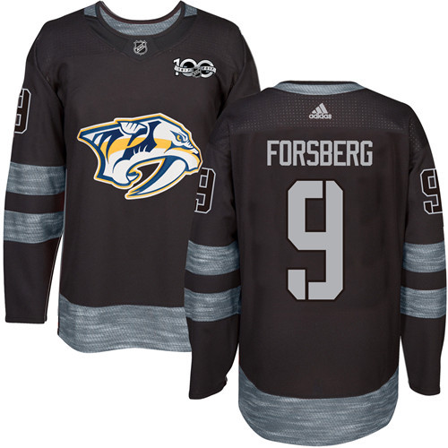 Predators #9 Filip Forsberg Black 1917-2017 100th Anniversary Stitched NHL Jersey