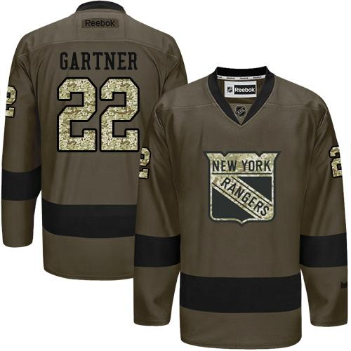 Rangers #22 Mike Gartner Green Salute to Service Stitched NHL Jersey