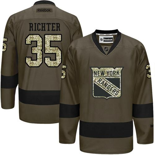 Rangers #35 Mike Richter Green Salute to Service Stitched NHL Jersey