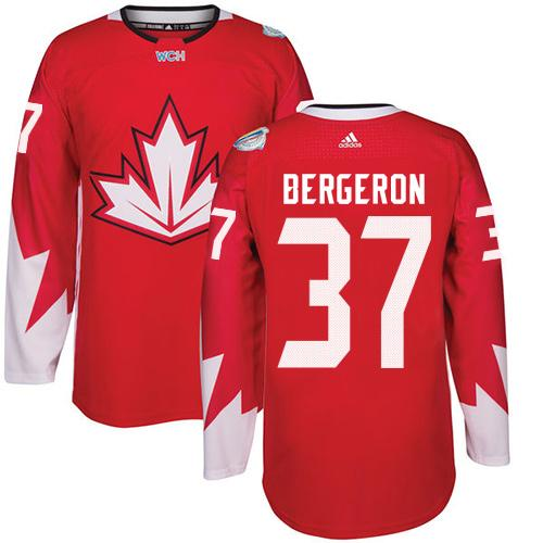 Team CA. #37 Patrice Bergeron Red 2016 World Cup Stitched NHL Jersey