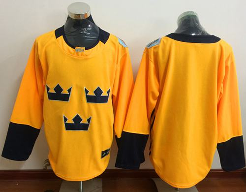 Team Sweden Blank Gold 2016 World Cup Stitched NHL Jersey