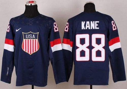 2014 Olympic Team USA #88 Patrick Kane Navy Blue Stitched NHL Jersey