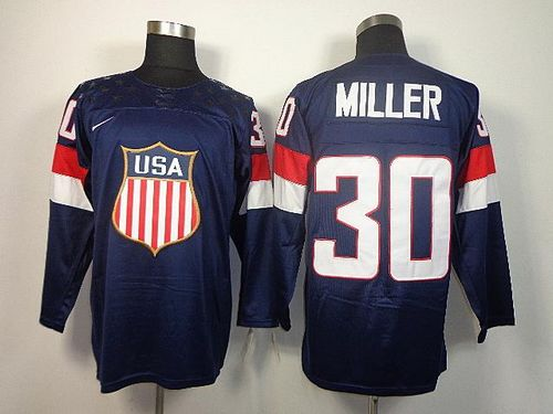 2014 Olympic Team USA #30 Ryan Miller Navy Blue Stitched NHL Jersey