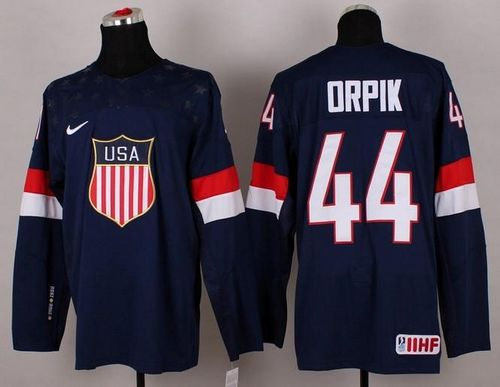 2014 Olympic Team USA #44 Brooks Orpik Navy Blue Stitched NHL Jersey