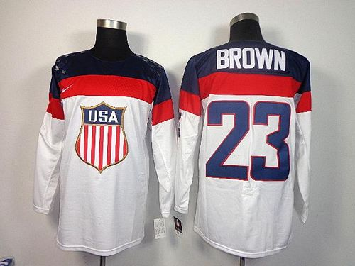 2014 Olympic Team USA #23 Dustin Brown White Stitched NHL Jersey