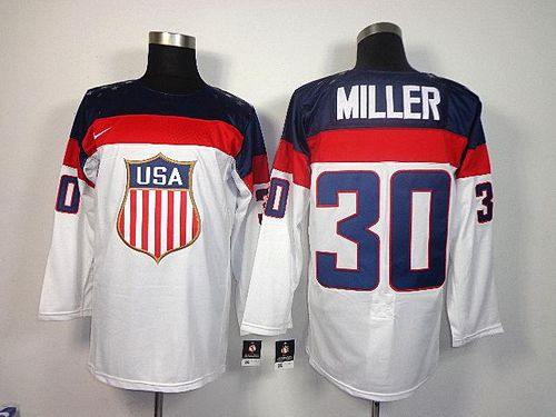 2014 Olympic Team USA #30 Ryan Miller White Stitched NHL Jersey