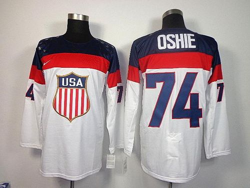 2014 Olympic Team USA #74 T. J. Oshie White Stitched NHL Jersey