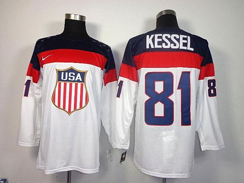 2014 Olympic Team USA #81 Phil Kessel White Stitched NHL Jersey