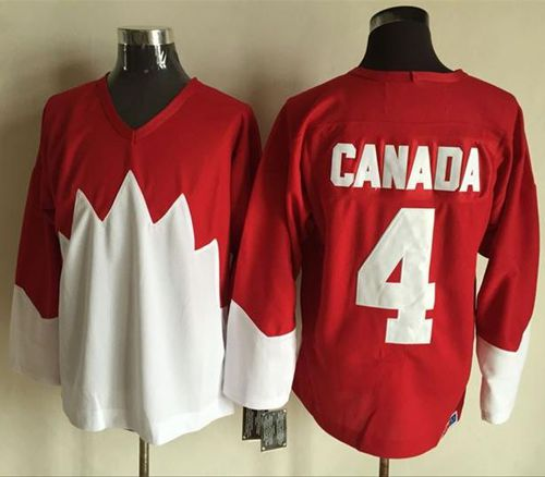 Olympic CA. #4 Canada Red/White 1972 Commemorative CCM Stitched NHL Jersey