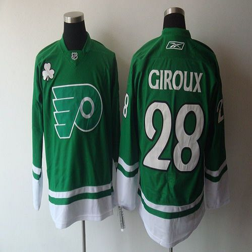 Flyers #28 Claude Giroux Green St. Patty's Day Stitched NHL Jersey