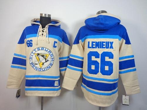 Penguins #66 Mario Lemieux Cream Sawyer Hooded Sweatshirt Stitched NHL Jersey