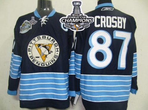 Penguins #87 Sidney Crosby Dark Blue 2011 Winter Classic Vintage 2016 Stanley Cup Champions Stitched NHL Jersey