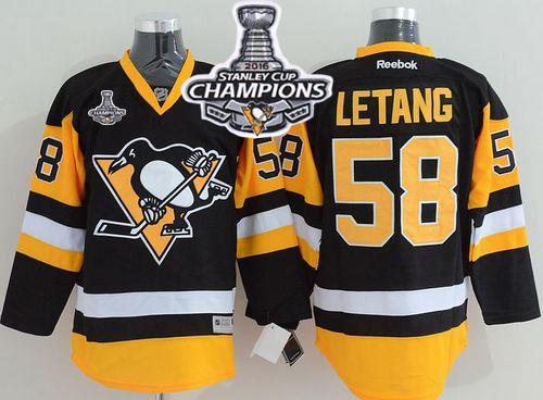 Penguins #58 Kris Letang Black Alternate 2016 Stanley Cup Champions Stitched NHL Jersey