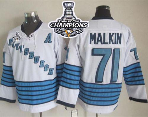 Penguins #71 Evgeni Malkin White/Light Blue CCM Throwback 2016 Stanley Cup Champions Stitched NHL Jersey