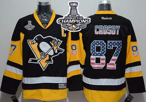 Penguins #87 Sidney Crosby Black Alternate USA Flag Fashion 2016 Stanley Cup Champions Stitched NHL Jersey